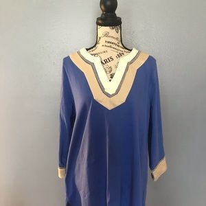 Charter Club Embroidered Split Neck Tunic